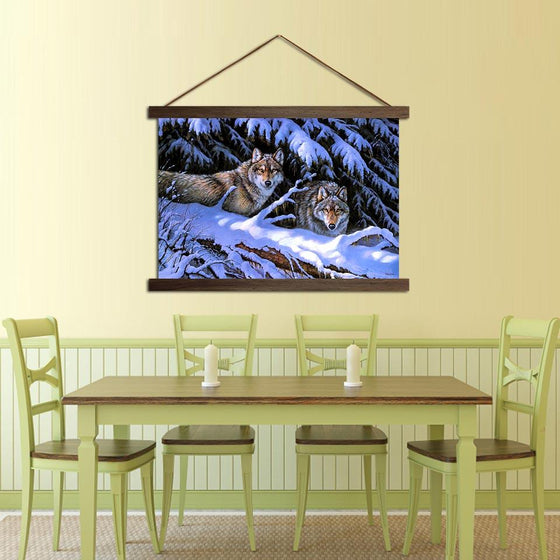 Fierce Wolves - Canvas Scroll Wall Art Dining Room