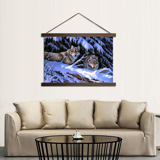 Fierce Wolves - Canvas Scroll Wall Art Decor