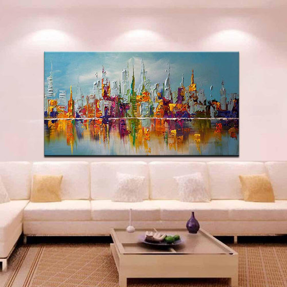 Hand Painted Abstract Colored Building Canvas Wall Art