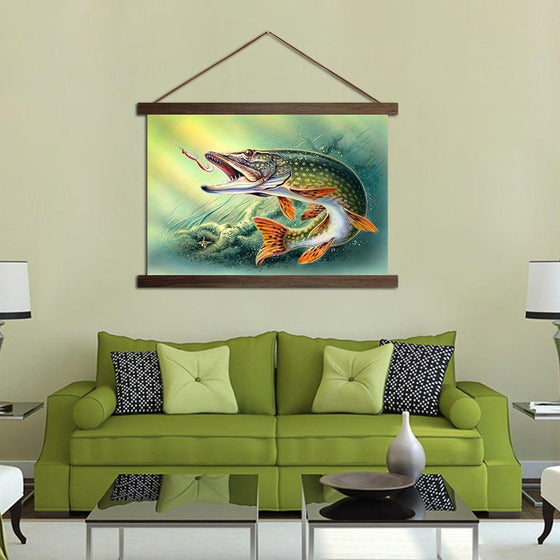 Fish Hooked Pike - Canvas Scroll Wall Art Home Decor