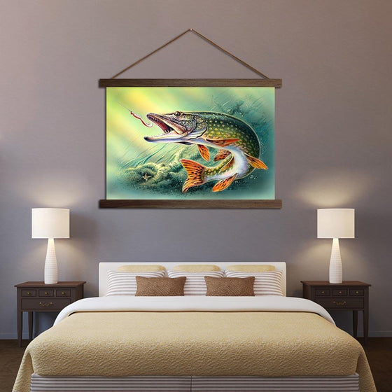 Fish Hooked Pike - Canvas Scroll Wall Art Bedroom