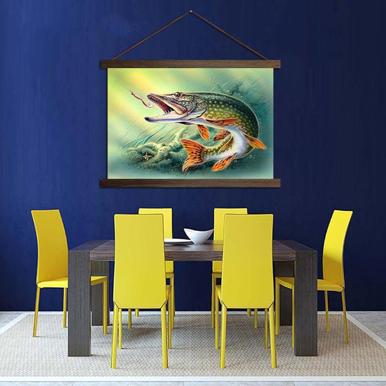 Fish Hooked Pike - Canvas Scroll Wall Art Dining Room