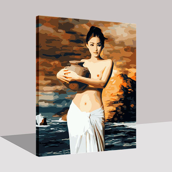 Beautiful Lady Holding Ceramics - DIY Painting by Numbers Kit