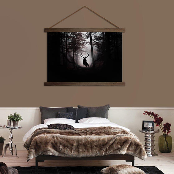Deer in the Dark Woods - Canvas Scroll Wall Art Bedroom