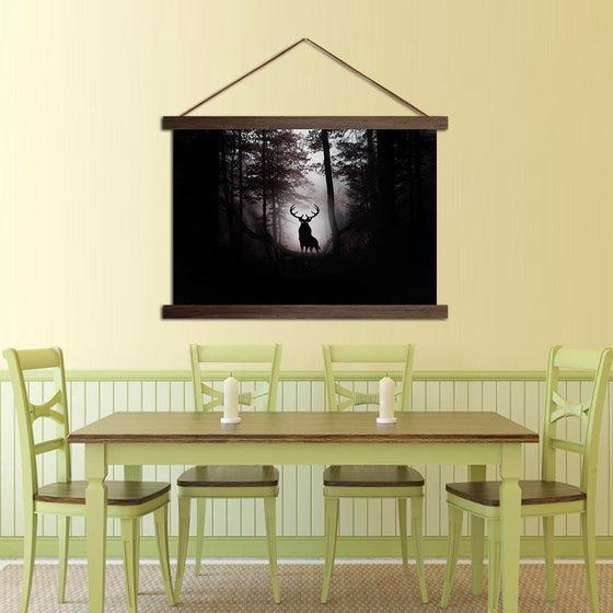 Deer in the Dark Woods - Canvas Scroll Wall Art Dining Room