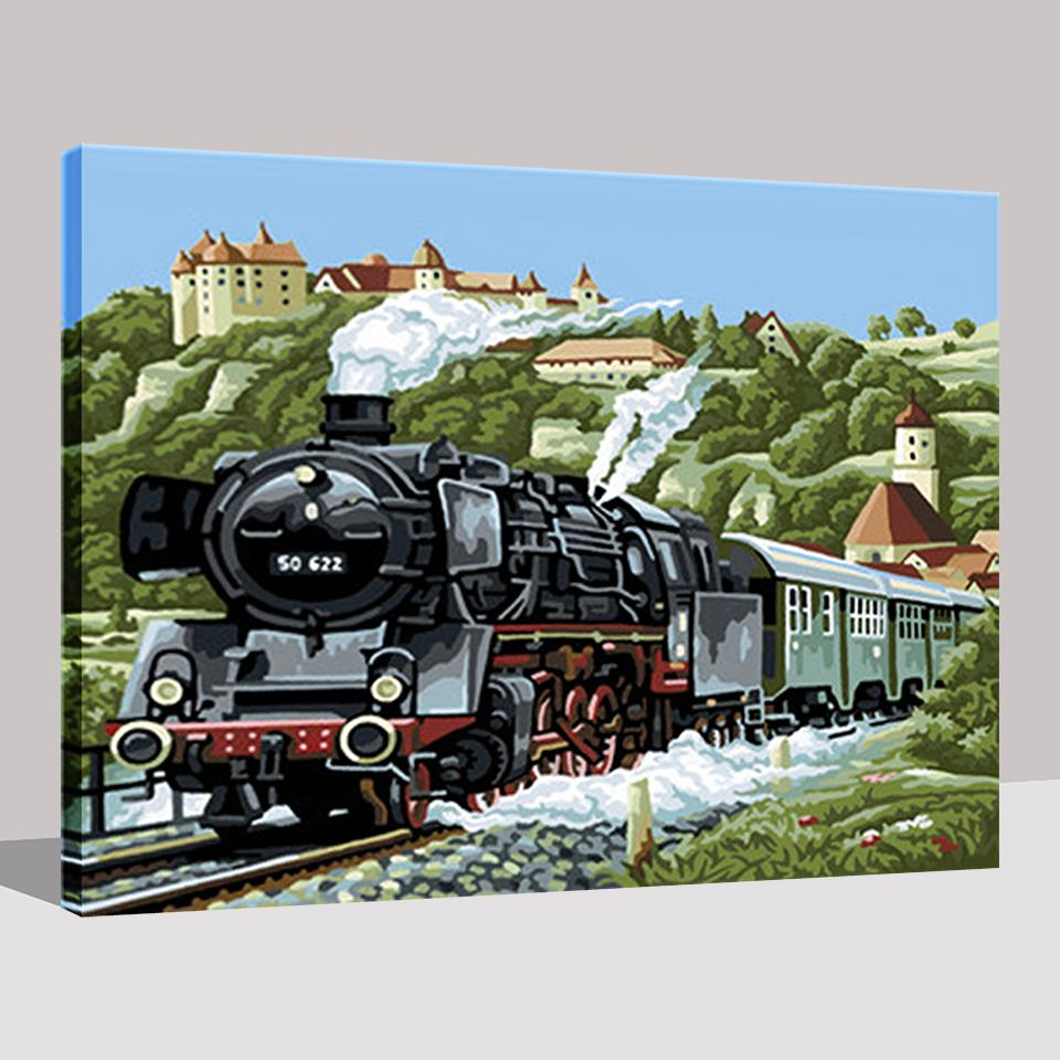 Steam Locomotive - DIY Painting by Numbers Kit