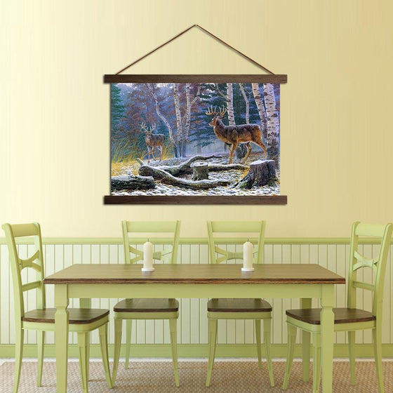 Deer in the Forest - Canvas Scroll Wall Art Dining Room