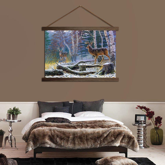 Deer in the Forest - Canvas Scroll Wall Art Bedroom