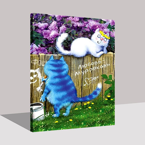 Blue And White Cat With Purple Flowers Background - DIY Painting by Numbers Kit