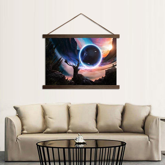 The Universe and a Deer - Canvas Scroll Wall Art