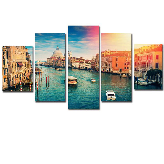 Venice Water City Ship Sunset Scenery Canvas Wall Art