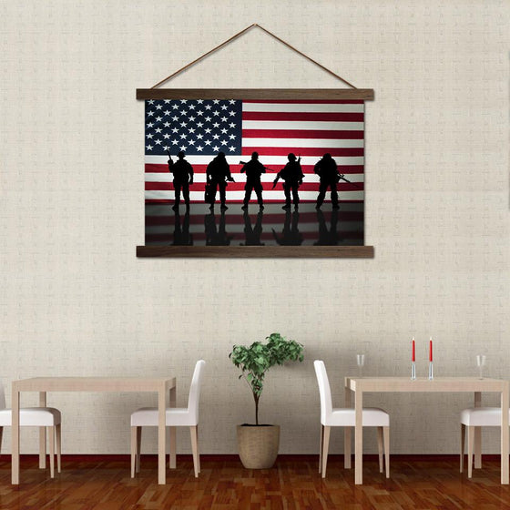 American Flag and Soldiers - Canvas Scroll Wall Art Restaurant