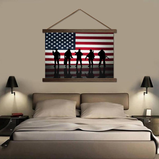 American Flag and Soldiers - Canvas Scroll Wall Art Bedroom