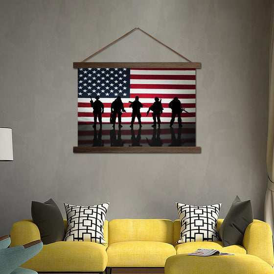 American Flag and Soldiers - Canvas Scroll Wall Art