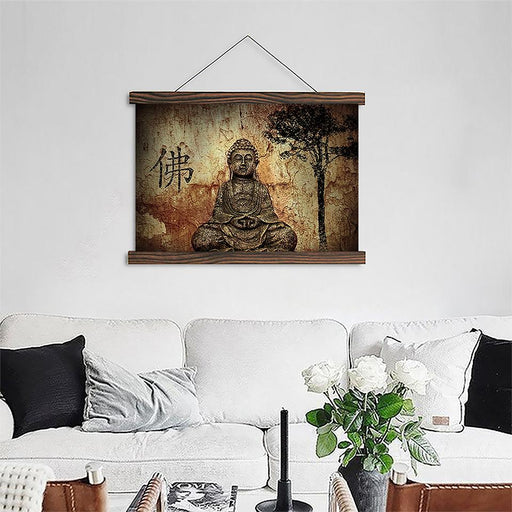 Vintage Zen Buddha - Canvas Scroll Wall Art