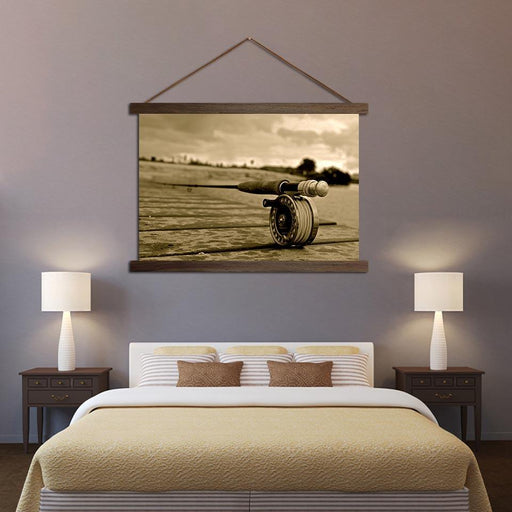 Vintage Fishing Rod - Canvas Scroll Wall Art