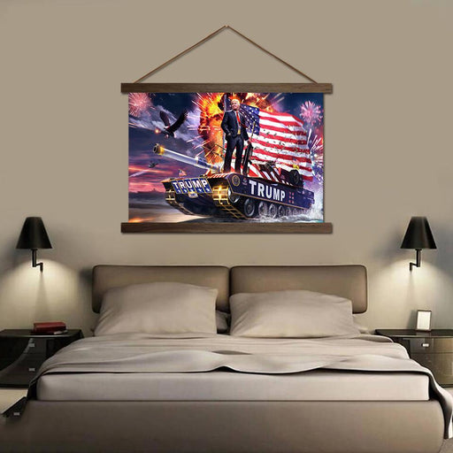 Donald Trump and American Flag - Canvas Scroll Wall Art