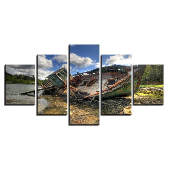Old Sinking Ship Canvas Wall Art