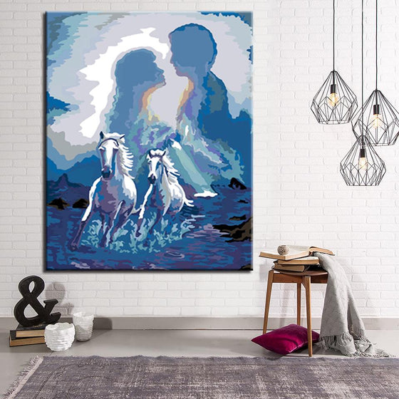 White Horse and Couple - DIY Painting by Numbers Kit