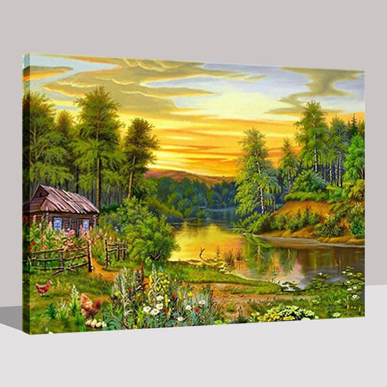 Forest And Lake Small Wooden House - DIY Painting by Numbers Kit