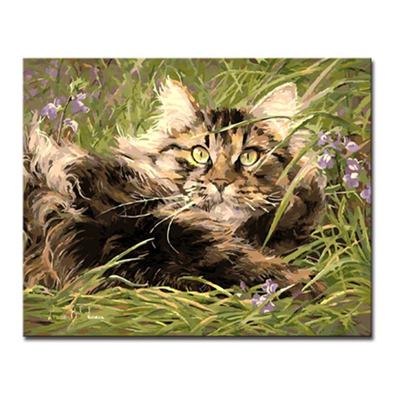 Cat Hiding in Grass - DIY Painting by Numbers Kit