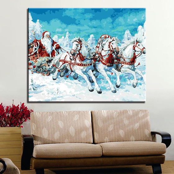 Santa Drives The Horses - DIY Painting by Numbers Kit