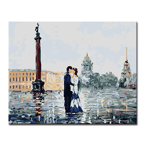 Lovers Embraced Kissed Buildings - DIY Painting by Numbers Kit