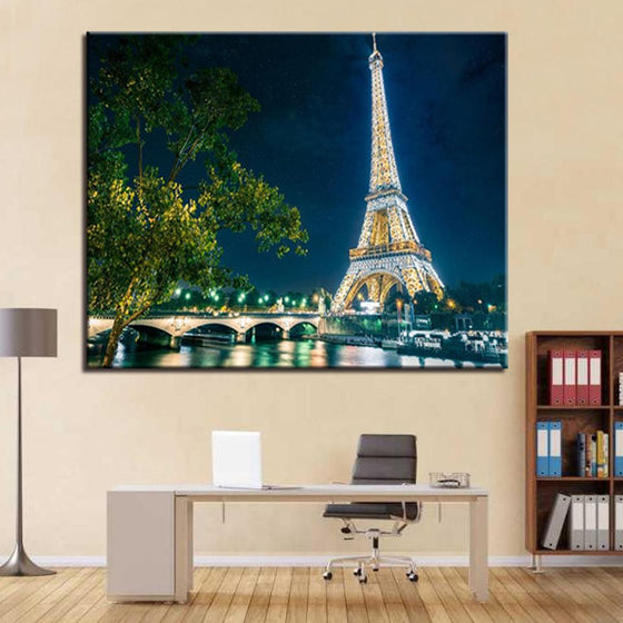 Paris Tower Under The Night View - DIY Painting by Numbers Kit