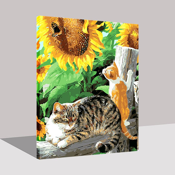 Sunflower Cat - DIY Painting by Numbers Kit