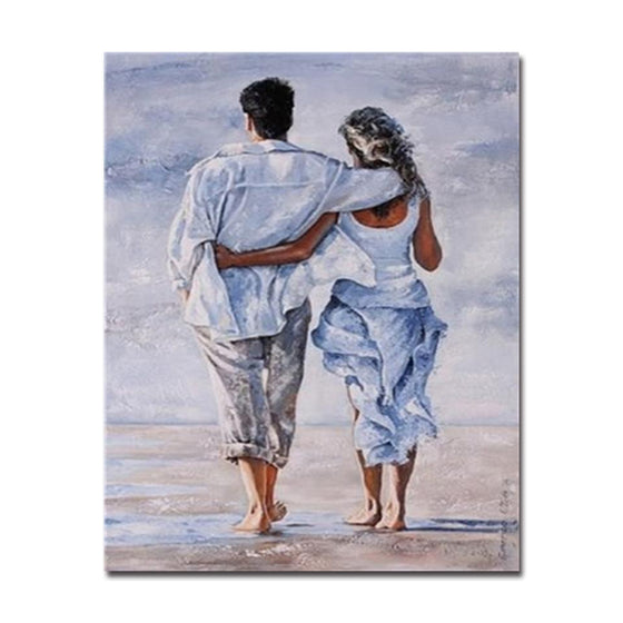Couples Walking By The Seashore - DIY Painting by Numbers Kit