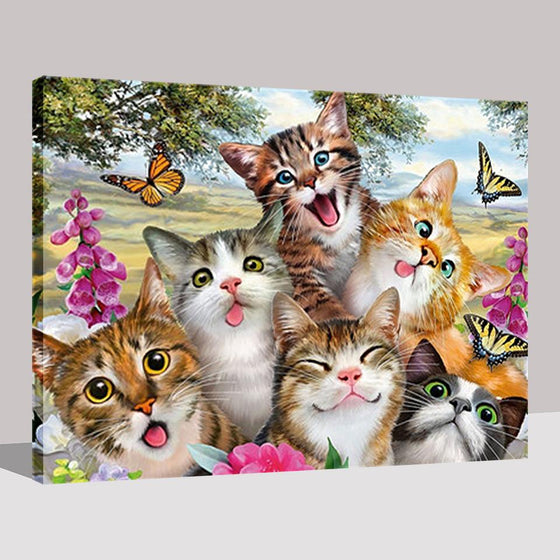 Cats And Butterflies - DIY Painting by Numbers Kit