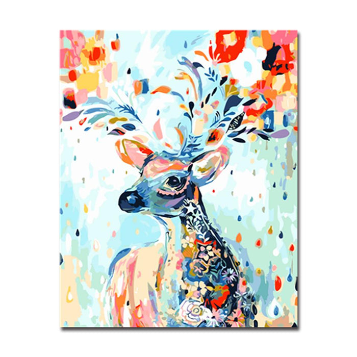 Colorful Dear With Beautiful Patterns - DIY Painting by Numbers Kit ...
