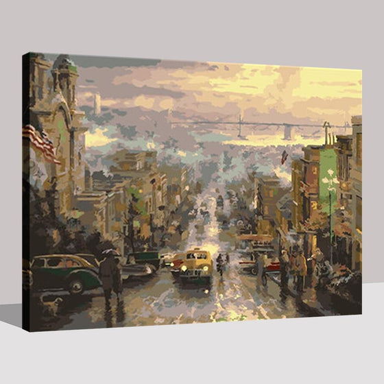 European City Street Scenery - DIY Painting by Numbers Kit