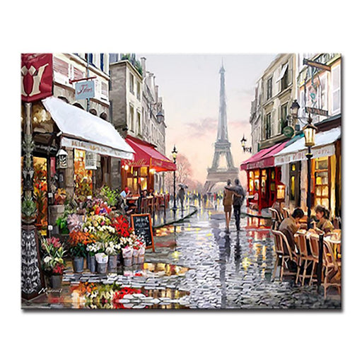 Paris Tower Shop Streetscape - DIY Painting by Numbers Kit