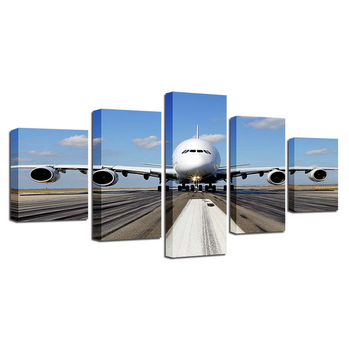 Aircraft Blue Sky White Cloud Beautiful Canvas Wall Art