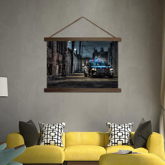 Police Car on an Empty Street - Canvas Scroll Wall Art Living Room