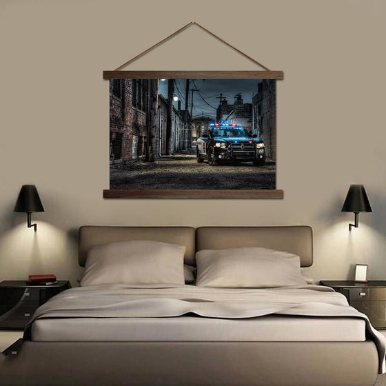 Police Car on an Empty Street - Canvas Scroll Wall Art