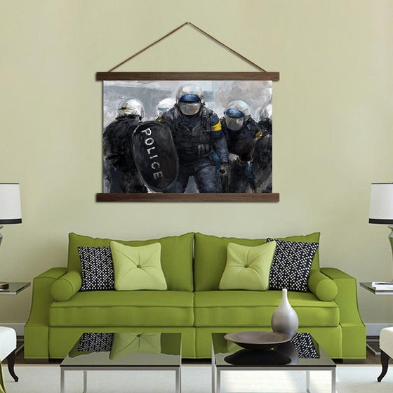 Police Officer Blocking - Canvas Scroll Wall Art