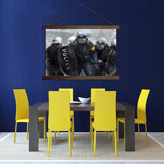 Police Officer Blocking - Canvas Scroll Wall Art Dining Room