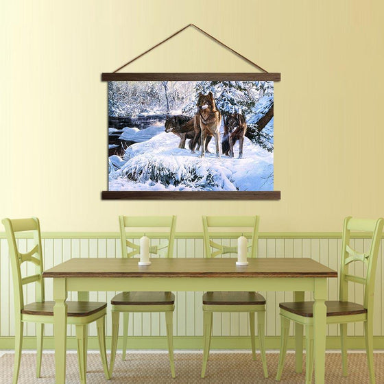 Wolfpack in a Snowy Mountain - Canvas Scroll Wall Art