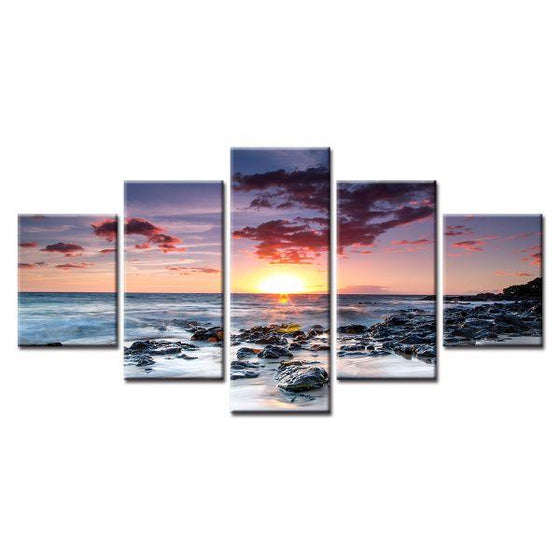 Sunset And Buddha Canvas Wall Art