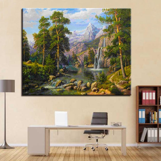 Waterfalls Forest Nature View -  DIY Painting by Numbers Kit
