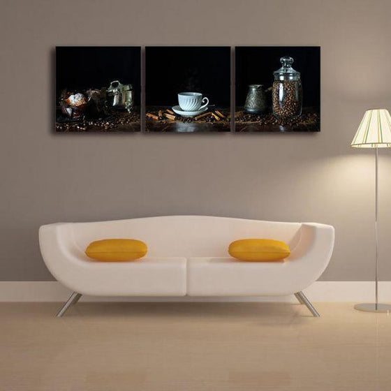 A Cup Of Hot Coffee 3 Panels Canvas Wall Art Decor