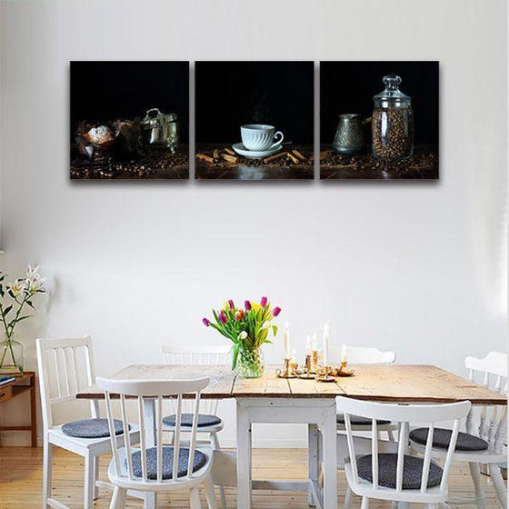 A Cup Of Hot Coffee 3 Panels Canvas Wall Art Dining Room