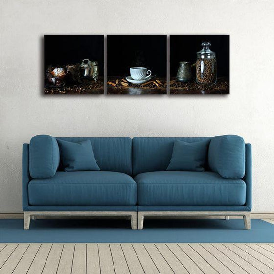 A Cup Of Hot Coffee 3 Panels Canvas Wall Art Print