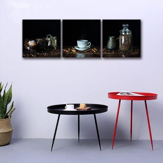 A Cup Of Hot Coffee 3 Panels Canvas Wall Art Set
