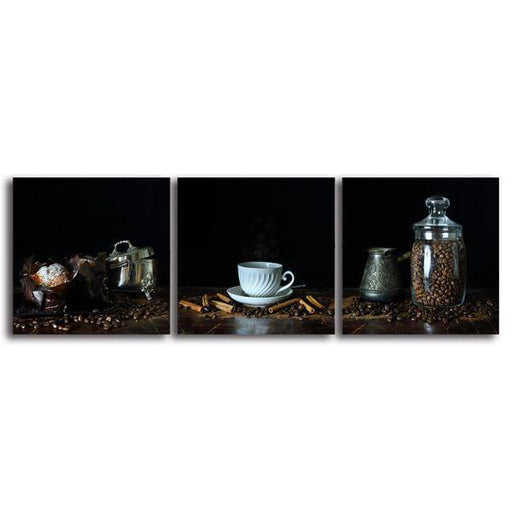 A Cup Of Hot Coffee 3 Panels Canvas Wall Art