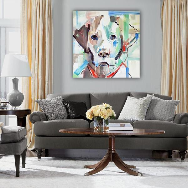 Abstract Dog Head Canvas Wall Art Living Room