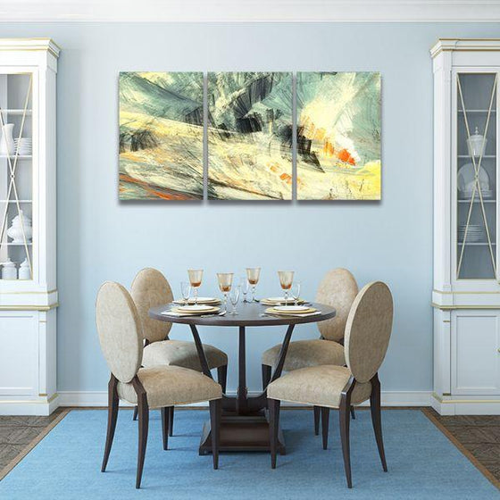 Abstract Mix Colors 3 Panels Canvas Wall Art Dining Room