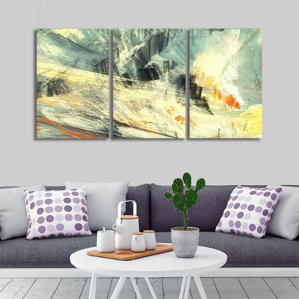 Abstract Mix Colors 3 Panels Canvas Art